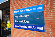 Signs for various medical departments at Ipswich Hospital, NHS Trust, Ipswich, Suffolk, England