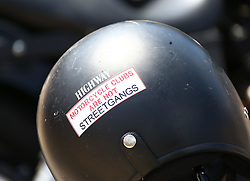 THEMENBILD - Der Hells Angels Motorcycle Club (HAMC) ist ein Motorrad- und Rockerclub. Er wurde 1948 gegründet und ist zurzeit in 32 Ländern mit sogenannten Chartern, Orts- oder Landesclubs vertreten. National und international wird der Club seit Jahrzehnten regelmäßig durch Behörden und Medien mit verschiedenen Straftaten in Verbindung gebracht und es kam weltweit immer wieder zu Verurteilungen einzelner Mitglieder z. B. aufgrund von Gewalt- und Drogendelikten, Delikten gegen die sexuelle Selbstbestimmung und Schutzgelderpressungen sowie zu Verboten ganzer Charter. Aufgenommen 28. Juni 2015 in Stuttgart. // The Hells Angels Motorcycle Club (HAMC) is a worldwide one-percenter motorcycle club whose members typically ride Harley-Davidson motorcycles. The organization is considered an organized crime syndicate by the U.S. Department of Justice. In the United States and Canada, the Hells Angels are incorporated as the Hells Angels Motorcycle Corporation. Common nicknames for the club are the 'H.A.', 'Red & White', and '81'. Pictured in Stuttart. Germany on 2015/06/28. EXPA Pictures © 2015, PhotoCredit: EXPA/ Eibner-Pressefoto/ Eky Eibner<br /> <br /> *****ATTENTION - OUT of GER*****