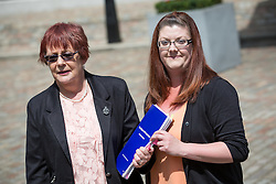 © Licensed to London News Pictures. 06/07/2016. London, UK. Valerie O'Neill with her daughter Tina O'Neill on the day Sir John Chilcot's Report of the Iraq Inquiry is published. Valerie lost her son Chris O'Neill in the Iraq war. The Inquiry was predicated to take approximately one year, but has taken seven. Photo credit : Tom Nicholson/LNP