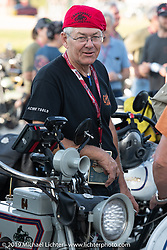 Dave Currier had Milwaukee Tools behind him as a sponsor for the Motorcycle Cannonball coast to coast vintage run. Stage 7 (274 miles) from Cedar Rapids to Spirit Lake, IA. Friday September 14, 2018. Photography ©2018 Michael Lichter.