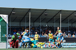 (L-R) goalkeeper Tyler Lovell of Australia, Manpreet Singh of India, Matthew Swann of Australia during the Champions Trophy finale between the Australia and India on the fields of BH&BC Breda on Juli 1, 2018 in Breda, the Netherlands.