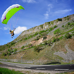 Speedflyers Mike Craig and Pedro Pimentel on a first descent of a new line flying above the A470 road in the Brecon Beacons area.