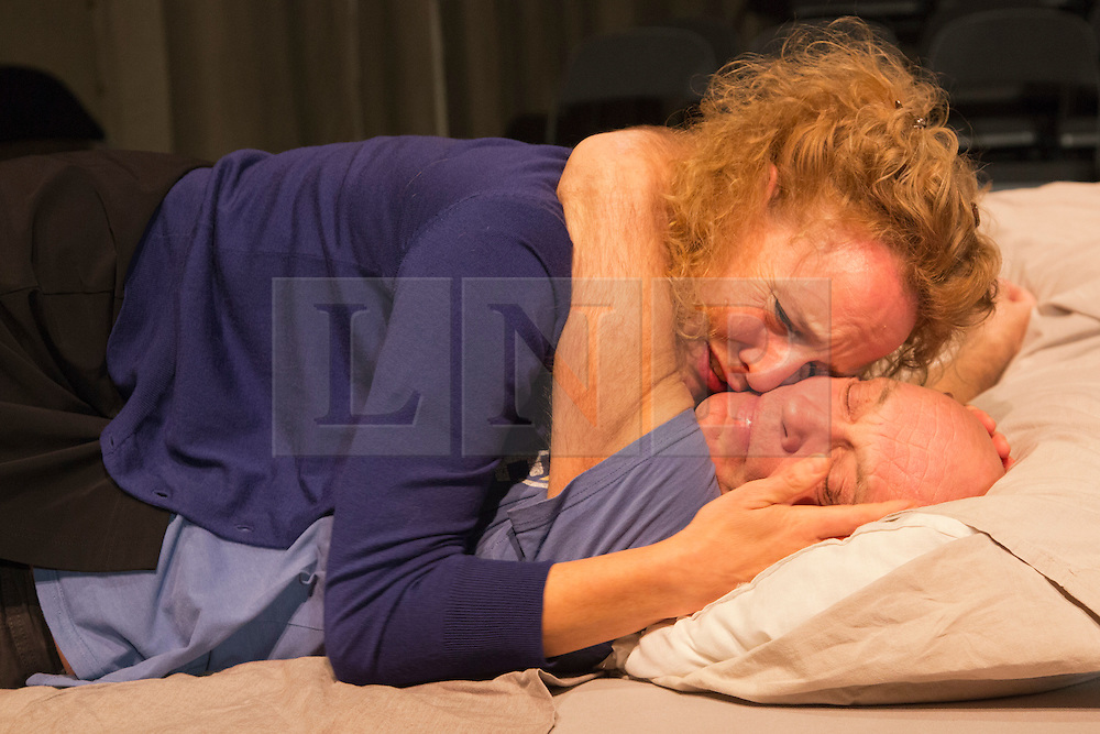 © Licensed to London News Pictures. 14/11/2013. London, England. Pictured: Hugo Koolschijn and Janni Goslinga as the oldest couple. Toneelgroep Amsterdam perform Scenes from a Marriage by Ingmar Bergman at the Barbican Theatre, London, 14-17 November 2013. With Alwin Pulinckx, Roeland Fernhout and Hugo Koolschijn as Johan and Suzanne Grotenhuis, Hadewych Minis and Janni Goslinga as Marianne; directed by Ivo van Hove. Photo credit: Bettina Strenske/LNP