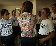 10/22/02--Al Diaz Photos--Boot Camp at The United States Coast Guard Training Center Cape May, NJ, on Tuesday. Left to Right, Iliada Barbosa, 18, Elizabeth Poquette, 18, Stephanie Price, 18, wearing tattoos is Audra Bennett, 21, Patrice Walker, 19, Melissa Vaughn, 23, Elena Savino, 24.