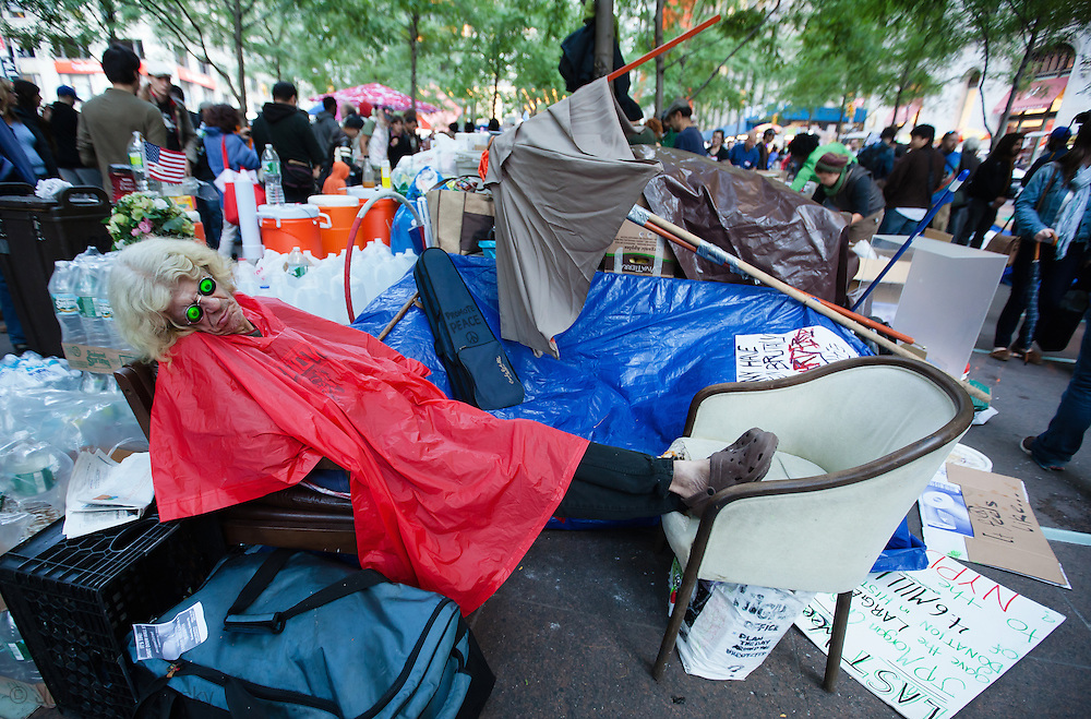 October 4, 2011 in New York City,  a  senior citizen in the Occupy Wall Street movement sleeps in Zuccotti Park with hundreds of others. The protestors are fighting for social and economic justice.