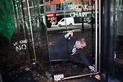 Around 40 activists dressed as animals invaded the PR firm Bell Pottinger My 11th, 2017, in central London, United Kingdom.  The activists want to ecxpose the companys ties with thefracking industry as part of a long running campaign against fracking by the activist group Reclaim the Power called Break the Chain. A security guard locks the doors after all acitivists have the left the premisses.<br /> The activist spend a short while in the lobby  with zebras throwing leaves, monkeys spreading animal manure and a squid spraying 'ink' on the windows before leaving peacefully.<br /> Bell Pottinger currently represent Centrica which is a major fracking investor in the UK according to the groups press release and the company has in the past helped the fracking company Quadrilla restore their reputation, also according to the press release.