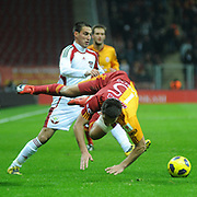 Galatasaray's Milan BAROS (R) during their Turkey Cup Quarter final matchday 2 Galatasaray between Gasiantepspor at the AliSamiYen Turk Telekom Arena in Istanbul Turkey on Wednesday 02 March 2011. Photo by TURKPIX