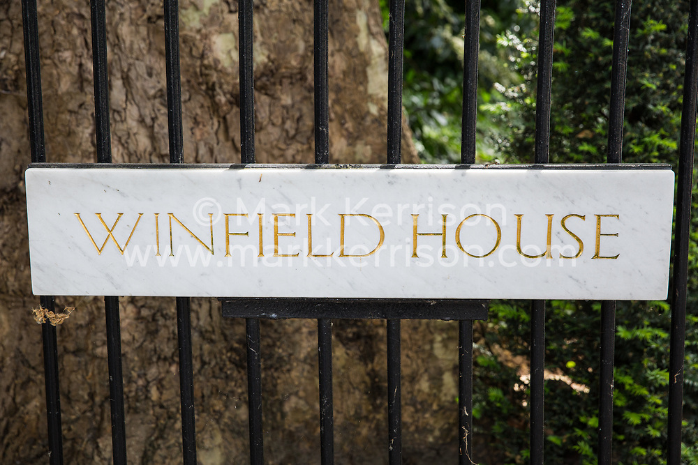 London, UK. 1 June, 2019. A sign outside Winfield House, residence of the US ambassador to the UK. President Trump will be staying at Winfield House during his state visit to the UK.