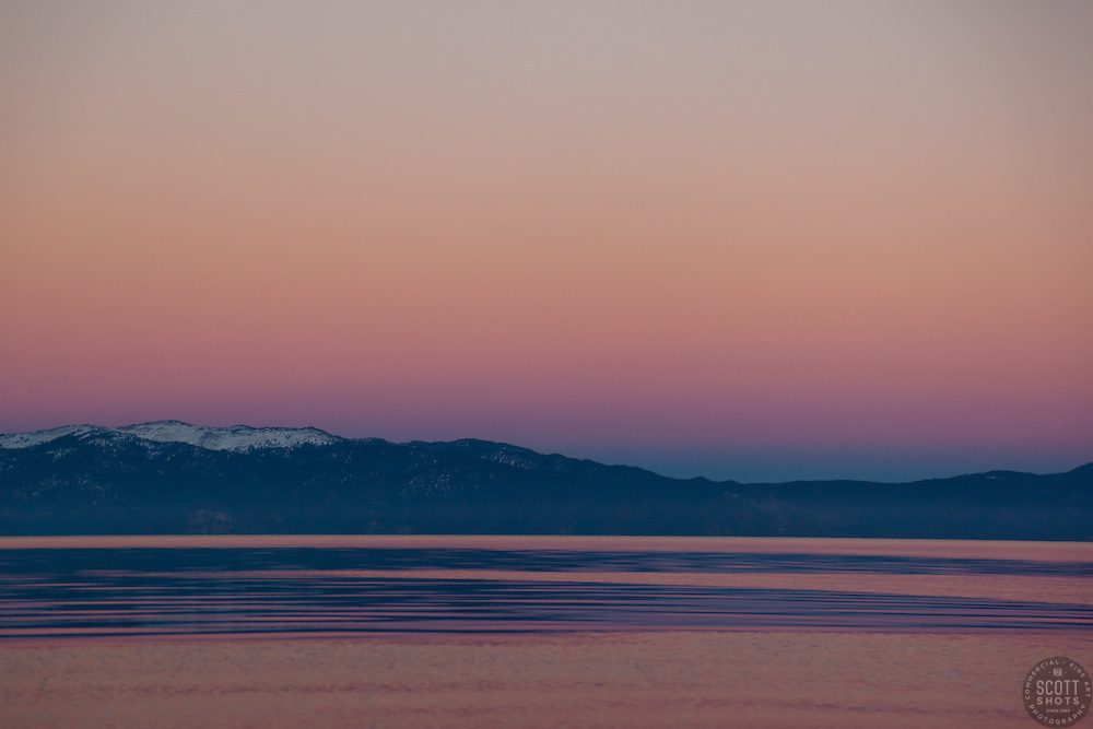 """""""Sunset at Lake Tahoe 11"""" - This peaceful sunset was photographed from the West Shore of Lake Tahoe."""