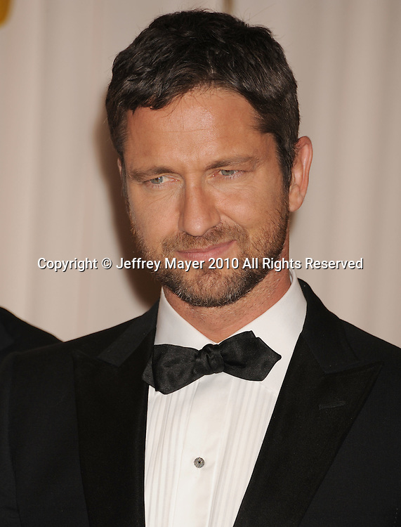 HOLLYWOOD, CA. - March 07: Actor/presenter Gerard Butler poses in the press room at the 82nd Annual Academy Awards held at the Kodak Theatre on March 7, 2010 in Hollywood, California.