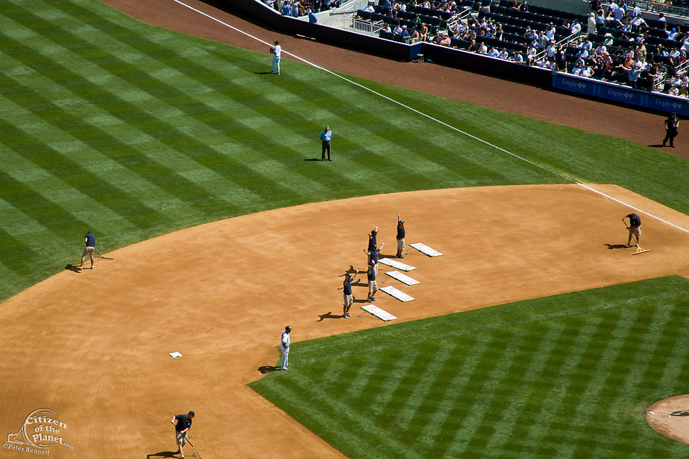 """Ground Crew performing to the song """"YMCA"""" during 7th Inning stretch, Yankee Stadium (New), The Bronx, New York City, USA"""