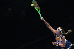 October 26, 2017 - Jelena Ostapenko of Latvia competes during the match against K. Pliskova of the Czech Republic at the WTA Finals tennis tournament in Singapore. (Credit Image: © Then Chih Wey/Xinhua via ZUMA Wire)