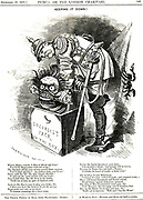 Keeping It Down!'. Otto von Bismarck (1815-1898) Germany Chancellor, trying to force the Jack of Socialism back in his box.  The captions tells him that every act of repression acts an elixir to the human wish for more freedom.  Cartoon by Edward Linley Sambourne from 'Punch', London.