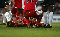 Photo: Andrew Unwin.<br /> Middlesbrough v Tottenham Hotspur. The Barclays Premiership. 18/12/2005.<br /> Middlesbrough's James Morrison lies motionless on the floor.