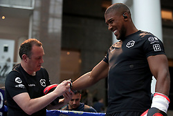 Anthony Joshua (right) during the public work-out at the Brookfield Place, New York.