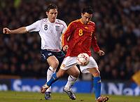 Photo: Paul Greenwood.<br />England v Spain. International Friendly. 07/02/2007. Spain's Xavier Hernandez, right, gets the better of Frank Lampard.