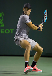 March 29, 2018 - Key Biscayne, Florida, United States - Borna Coric, from Croatia, in action against Alexander Zverev, from Germnay, during his quarter final match against Alexander Zverev, from Germany. Zeverev, defeated Coric 6-4, 6-4 in Miami, on March 29, 2018. (Credit Image: © Manuel Mazzanti/NurPhoto via ZUMA Press)