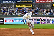 Kansas City Royals second baseman Hanser Alberto (49) reacts after hitting a two run home run during the third inning against the Minnesota Twins at Kauffman Stadium.