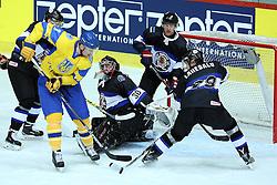 20.04.2016, Dom Sportova, Zagreb, CRO, IIHF WM, Ukraine vs Estland, Division I, Gruppe B, im Bild Andrei Mikhnov, Daniil Seppenen, Maksim Robushkin, Lauri Lahesalu // during the 2016 IIHF Ice Hockey World Championship, Division I, Group B, match between Ukraine and Estonia at the Dom Sportova in Zagreb, Croatia on 2016/04/20. EXPA Pictures © 2016, PhotoCredit: EXPA/ Pixsell/ Goran Stanzl<br /> <br /> *****ATTENTION - for AUT, SLO, SUI, SWE, ITA, FRA only*****