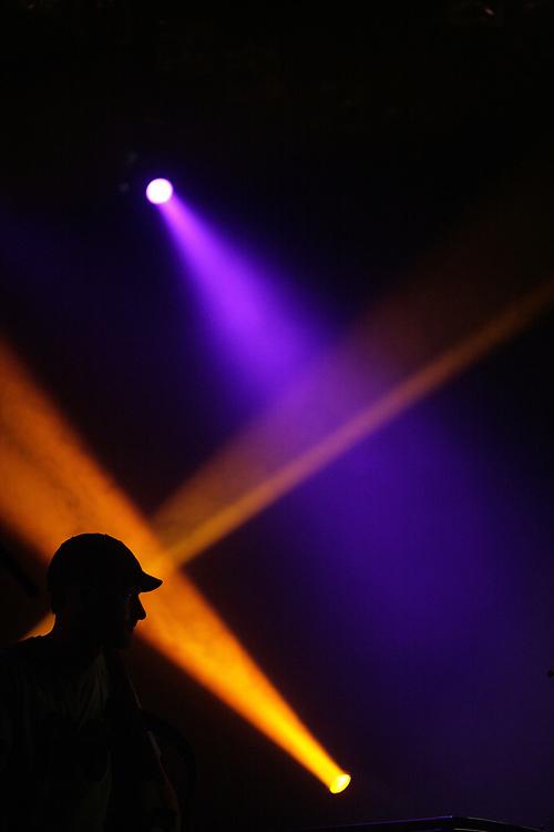 Silhouette of Perquisite during a performance in De Oosterpoort, Groningen.