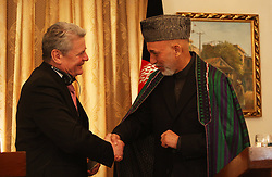 Afghan president Hamid Karzai (R) speaks during a joint press conference with German President Joachim Gauck, Kabul, Afghanistan, December 18, 2012. Photo by Imago / i-Images...UK ONLY