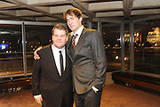 JAMES CORDEN; OLIVER CHRIS,  Opening party to celebratethe adelphi Theatre  West End transfer of National Theatre's One Man, Two Guvnors. National Theatre. South Bank. London. 21 November 2011.  *** Local Caption *** -DO NOT ARCHIVE-© Copyright Photograph by Dafydd Jones. 248 Clapham Rd. London SW9 0PZ. Tel 0207 820 0771. www.dafjones.com.<br /> JAMES CORDEN; OLIVER CHRIS,  Opening party to celebratethe adelphi Theatre  West End transfer of National Theatre's One Man, Two Guvnors. National Theatre. South Bank. London. 21 November 2011.