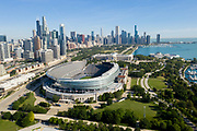 Aerial drone image of Soldier Field and the Chicago skyline on Wednesday, Aug. 5, 2020 Photo by Mark Black Photography