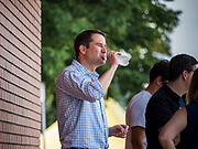 17 AUGUST 2019 - DES MOINES, IOWA: Representative SETH MOULTON (D-MA) waits to speak at the Des Moines Register Political Soapbox at the Iowa State Fair Saturday. Moulton, a US Marine veteran who served in Iraq, is running to be the Democratic candidate for the US Presidency in 2020 and spent Saturday campaigning at the fair. Iowa traditionally hosts the the first selection event of the presidential election cycle. The Iowa Caucuses will be on Feb. 3, 2020.          PHOTO BY JACK KURTZ
