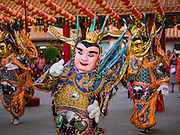 28 JANUARY 2017 - SAMUT PRAKAN, SAMUT PRAKAN, THAILAND: Traditional dancers perform before the Chinese New Year Lantern Festival at the Tham Katanyu Foundation shrine in Samut Prakan, a suburb about 15 miles from Bangkok. More than 5,000 handmade lanterns imported from Taiwan are hung on the grounds of the shrine. Some of the lanterns are traditional Chinese lanterns, others are in the shapes of people or deities. There is also traditional Chinese entertainment, likes lion dances, at the festival.     PHOTO BY JACK KURTZ