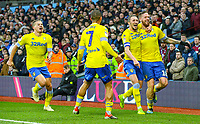 Leeds United's Pontus Jansson celebrates scoring his side's equalising goal with Luke Ayling, Kemar Roofe and Kalvin Phillips<br /> <br /> Photographer Alex Dodd/CameraSport<br /> <br /> The EFL Sky Bet Championship - Aston Villa v Leeds United - Sunday 23rd December 2018 - Villa Park - Birmingham<br /> <br /> World Copyright © 2018 CameraSport. All rights reserved. 43 Linden Ave. Countesthorpe. Leicester. England. LE8 5PG - Tel: +44 (0) 116 277 4147 - admin@camerasport.com - www.camerasport.com