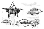 (A flying saucer encounters a Rolls Royce Thrust prototype aircraft flying over the English countryside.)