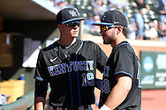 19 February 2017: Kentucky's Evan White (19) and Zach Reks (40). The University of North Carolina Tar Heels hosted the University of Kentucky Wildcats in a College baseball game at Boshamer Stadium in Chapel Hill, North Carolina. UNC won the game 5-4.