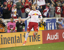 October 30, 2017 - Harrison, New Jersey, United States - Daniel Royer (77) of Red Bulls celebrates scoring penalty goal during MLS Cup first leg game against Toronto FC at Red Bull Arena Toronto won 2 - 1  (Credit Image: © Lev Radin/Pacific Press via ZUMA Wire)