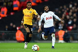 February 7, 2018 - London, United Kingdom - Shawn McCoulsky of Newport County gets away from Tottenham Hotspur's Danny Rose during the FA Cup Fourth Round replay match between Tottenham Hotspur and Newport County at Wembley stadium, London, England on 10 Feb  2018. (Credit Image: © Kieran Galvin/NurPhoto via ZUMA Press)
