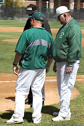 "14 April 2013:  Titan Head Coach Dennis Martel and Director of Baseball Operations Matt ""the cat"" Adams during an NCAA division 3 College Conference of Illinois and Wisconsin (CCIW) Baseball game between the Elmhurst Bluejays and the Illinois Wesleyan Titans in Jack Horenberger Stadium, Bloomington IL"