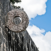 One of the stone hoops, or goals, at the large ball games court at the ancient Mayan ruins at Chichen Itza, Yucatan, Mexico