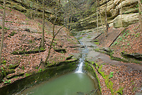Small waterfall in French Canyon, Starved Rock State Park Illinois USA