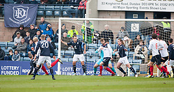 Falkirk's Mark Beck (behind 20) scoring their goal.<br /> half time : Dundee 0 v 1 Falkirk, Scottish Championship game played today at Dundee's Dens Park.<br /> © Michael Schofield.