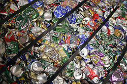 Bales of aluminium cans ready to be recycled,