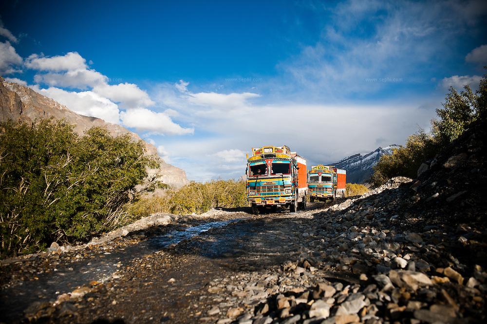Colorfull trucks near Losar, Spiti Valley, India