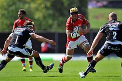Richard Thorpe (London Welsh) takes on the Chiefs defence - Photo mandatory by-line: Patrick Khachfe/JMP - Mobile: 07966 386802 06/09/2014 - SPORT - RUGBY UNION - Oxford - Kassam Stadium - London Welsh v Exeter Chiefs - Aviva Premiership