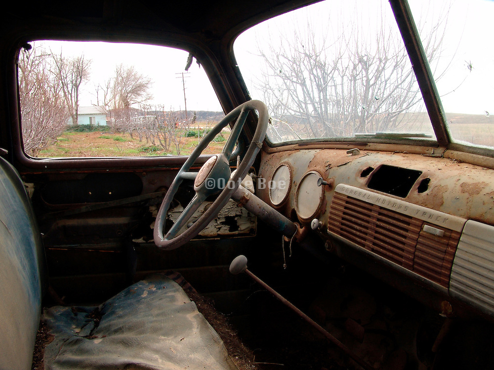 Interior of an old abandoned car.