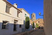 Church tower and village buildings, Lliber, Marina Alta, Alicante province, Spain