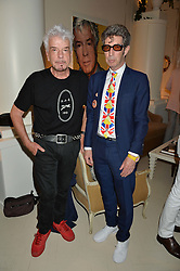 Left to right, NICKY HASLAM and DUGGIE FIELDS at a party to celebrate the publication of 'A Girl From Oz' by Lyndall Hobbs held at Flat 1, 165 Cromwell Road, London on 12th May 2016.