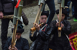 People play instruments during a parade celebrating a traditional festival, which falls on the second day of the second month in the Chinese lunar calendar, in Meilin Township under Dong Autonomous County of Sanjiang, south China's Guangxi Zhuang Autonomous Region, March 10, 2016. EXPA Pictures © 2016, PhotoCredit: EXPA/ Photoshot/ Huang Xiaobang<br /> <br /> *****ATTENTION - for AUT, SLO, CRO, SRB, BIH, MAZ, SUI only*****