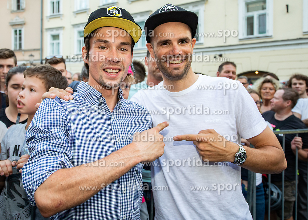 Primoz Roglic with Luka Mezgec during reception of best Slovenian riders after Giro d'Italia 2019 and Tour of California 2019, on June 3rd, 2019, in Mestni trg, Ljubljana, Slovenia. Photo by Vid Ponikvar / Sportida