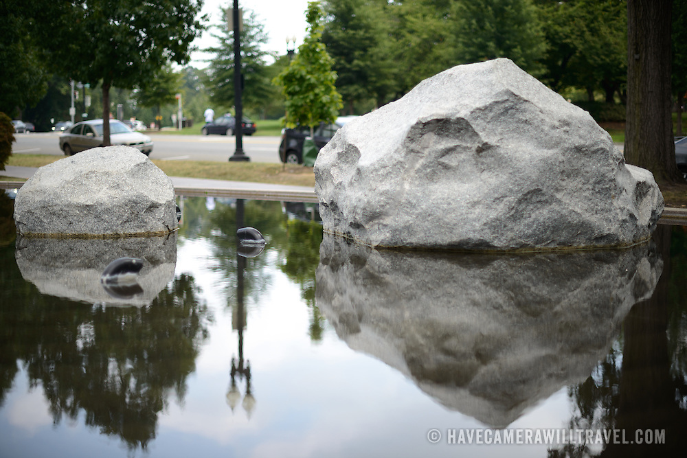 Reflective pools at the Memorial to Japanese-American Patriotism in World War II near the US Capitol in Washington DC. The memorial was designed by Davis Buckley and Nina Akamu and commemorates those held in Japanese American internment camps during World War II.