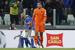 (l-r) Simone Zaza of Italy, Virgil van Dijk of Holland during the International friendly match between Italy and The Netherlands at Allianz Stadium on June 04, 2018 in Turin, Italy