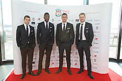 LIVERPOOL, ENGLAND - Thursday, May 12, 2016: Liverpool's Jon Flanagan, Divock Origi, Dejan Lovren and goalkeeper Simon Mignolet arrive on the red carpet for the Liverpool FC Players' Awards Dinner 2016 at the Liverpool Arena. (Pic by David Rawcliffe/Propaganda)