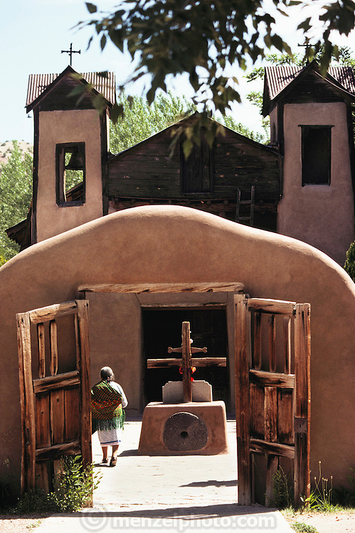 Chimayo Sanctuary, on the road to Taos, near Santa Fe, New Mexico, USA. It is dedicated to the Madonna where supposedly a miracle occurred.